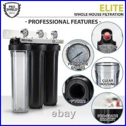 PRO+AQUA Whole House Water Filter System Indoor Threaded Fitting 3-Stage Gauges