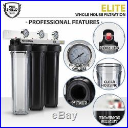 Pro Aqua ELITE 3 Stage Whole House Well Water Filter System, Gauges, 1 Ports