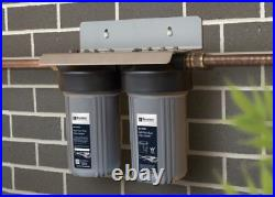 Puretec HIGH FLOW WHOLE HOUSE DUAL WATER FILTRATION FILTER SYSTEM 10 60Lpm Grey