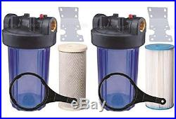 Two 10 Big Blue Whole House Water Filter with Pleated Sediment & Carbon Filters ^