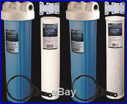 Two 20 Whole House Big Blue Water Purifier Filters BLUONICS Sediment & Carbon