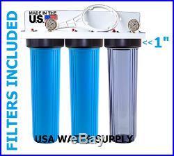 USA Water 3 Stage 20x4.5 Big Blue 1 Whole House Water Filter/2 Pressure Gauge