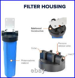 Whole House Water Filter 204.5 Big Blue Housings Pressure Release (1 Port)