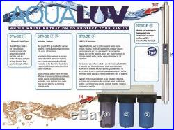 Whole House Water Filter System, 3X 10x4.5, 25GPM, 1+ 1 x UV/35W, 10GPM, 3/4