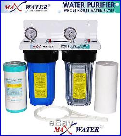 Whole House Water Filtration System 10x 4.5 Municipal & Well Water 1 ports