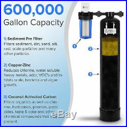 Whole House Water Filtration System 600,000 gal capacity withPre-filter, GAC/KDF